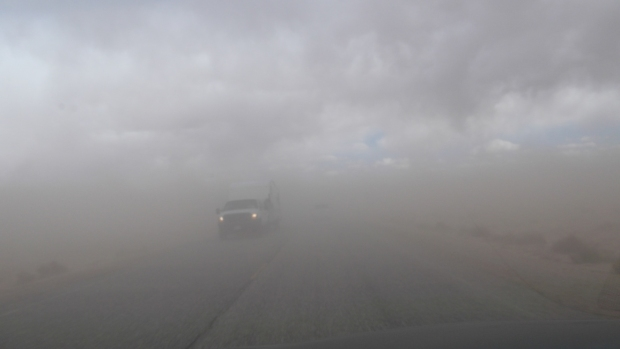 Dust storm; view through our windshield