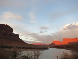 Sunset over Colorado River near Moab, UT