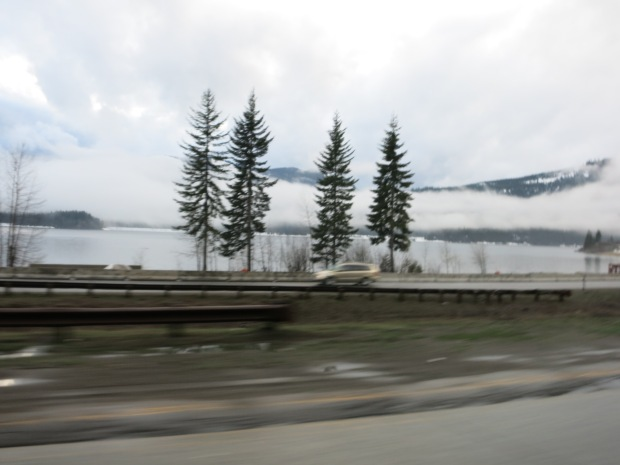 Speeding past Lake Kachess on I-90