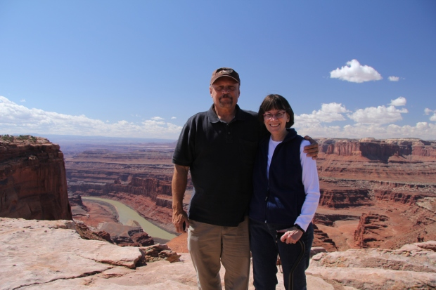 David and Trisha at Dead Horse Point State Park; Colorado River in the background