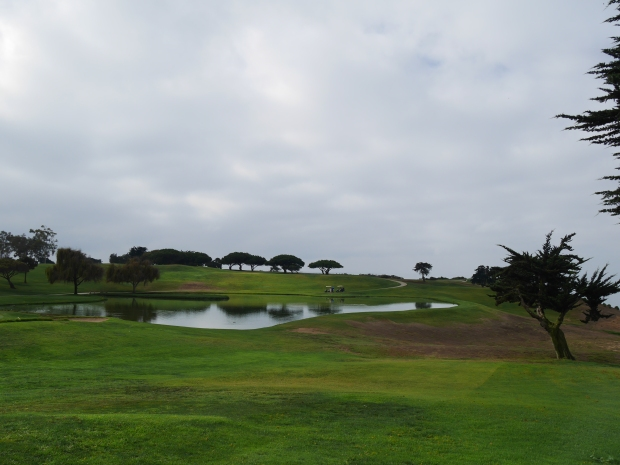 Sandpiper GC, 18th tee and green.