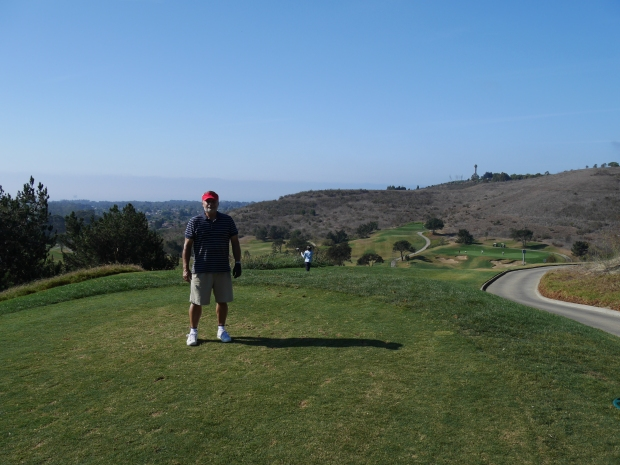 Glen Annie GC.  Waiting to tee of on the tantalizing 286 yard par 4 12th hole.