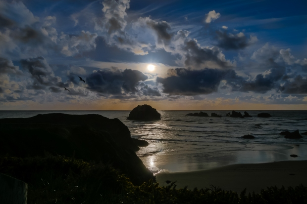 Bandon_Beach_Face_Rock_sunset