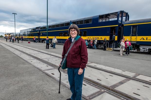 Trisha ready to board the train