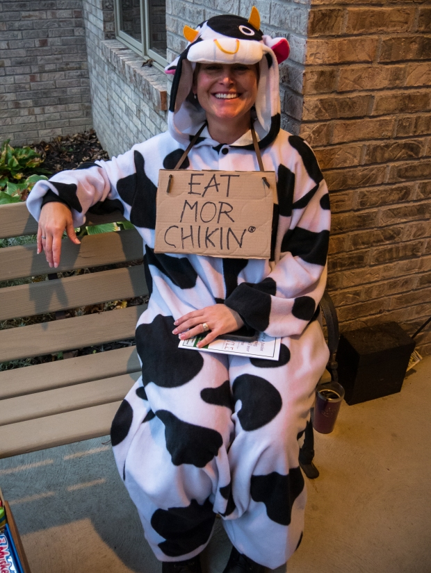 Brigitte as a Chic-Fil-A cow